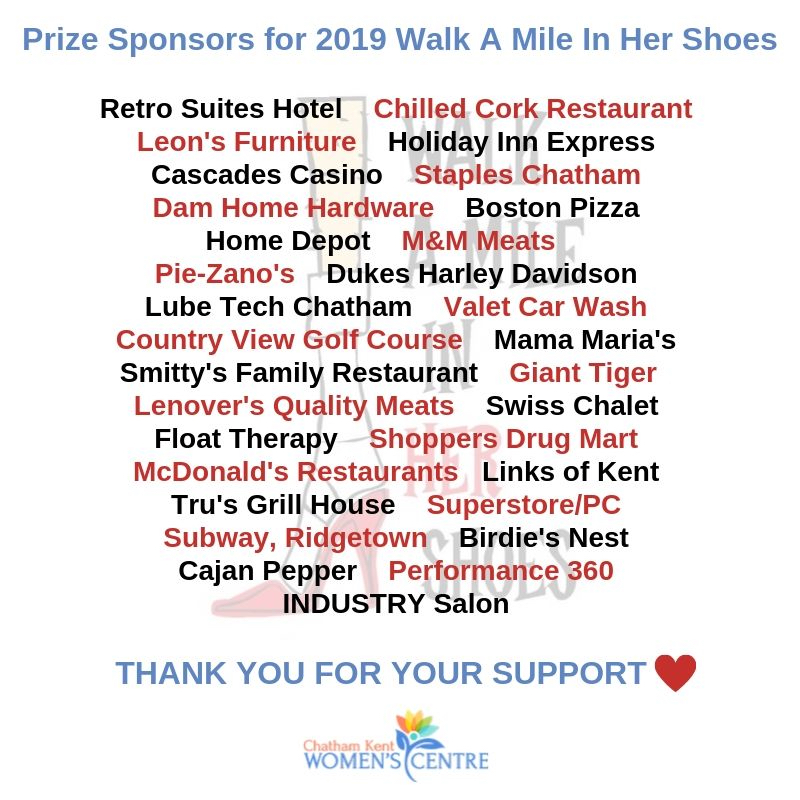Prize Sponsors for 2019 Walk A Mile In Her Shoes